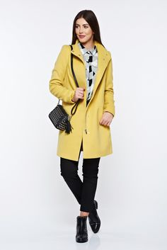 Top Secret yellow coat casual with pockets with inside lining, with pockets, inside lining, long sleeves, soft fabric, eyelets and zipper fastening, non elastic fabric