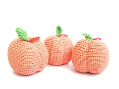 Crochet Peach Crochet fruit Pretend Play food Tactile toy Amigurumi Toys for toddlers Kids Toy Montessori Play Kitchen food Educational by Crochetpumpkin on Etsy