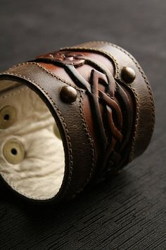 Cuff bracelet | EthosCustomBrands Designs.  'Celtic Sunrise'.  Leather