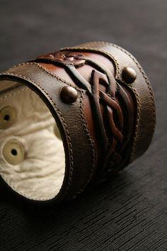 Cuff bracelet | EthosCustomBrands Designs.  'Celtic Sunrise'.  Leather