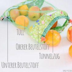 Bunte Obstbeutel statt Plastikmüll. Schnitt und Anleitung #machmit #noplastic #umweltfreundlich #taschen #nähenverbindet