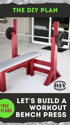 We'll know that exercising is important to our health. Weight training keeps our bones strong; it staves off disease, boosts metabolism, and promotes fat loss. But what if you don't have access to a gym to exercise? The solution to this problem is quite simple. Build yourself a simple DIY Workout Bench Press and start exercising. I've created a step-by-step instruction on how to build the bench press. #diy #freeplans #projects #homedecor #interior #furniture #woodproject #gym #doityourself Diy Furniture Projects, Diy Home Decor Projects, Furniture Makeover, Decor Ideas, Diy Garage, Bench Press, Simple Diy, Weight Training, Stores