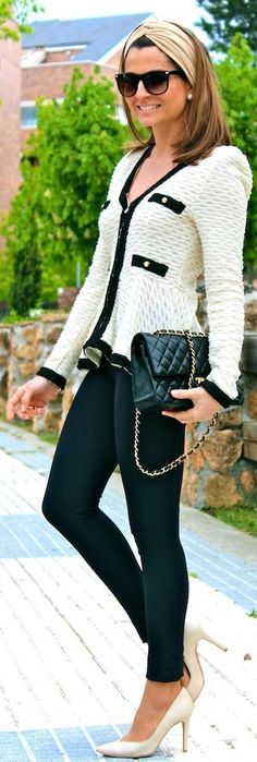 Vintage White and Blue Structured Chanel Looking Jacket by Oh my Looks