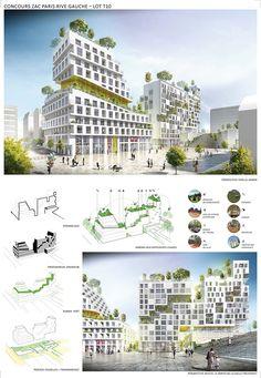 Architecture Environnementale, Plan Concept Architecture, Architecture Durable, Environmental Architecture, Office Building Architecture, Futuristic Architecture, Sustainable Architecture, Building Design, Paris Seine