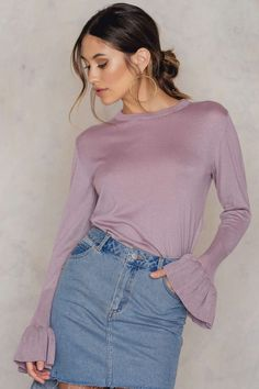 Crew Neck Frill Sleeve Sweater