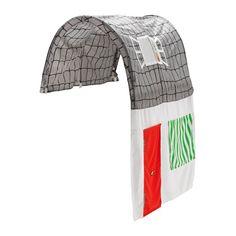 KURA Tenda per letto, grigio, bianco grigio/bianco -