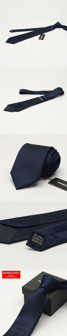 2016 Solid Adult Men Fashion Romguest Men's Business Tie Explosion Gentleman Dress Casual Dark Blue Color Neckties Gift Box