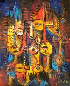 Check Out African Art Galleries. African art culture consists of different art forms created by various tribes. This African tribal art is regarded as one of the finest creations in the world of art. African Artwork, African Art Paintings, Original Paintings, Collages, Surrealism Painting, Painting Art, Facebook Art, Art Web, African Artists