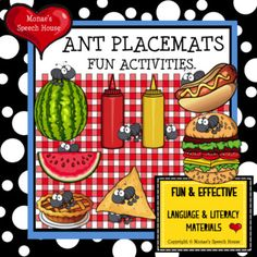 This SUPER FUN ANT PACKET will give you and your students lots of opportunities to work on receptive & expressive language skills, following directions, matching, andTONS MORE! ************************************************** CONTENTS: 1. Book Activities, Preschool Activities, Speech House, Ant Crafts, Ants In House, Speech Therapy Games, Picnic Theme, Simple Math, Speech And Language