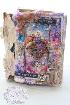 Mixed Media Art Journal Cover - The Heart is mysteries  #MaremiSmallArt #Lindysstampgang #Lindys #Mixedmedia #Magicals #Starburst #MoonShadowMist