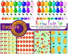 Spend $7 Get 10% OFF!  Use coupon code SPEND7GET10OFF     ❂❂❂ This listing is for an DIGITAL FILES only ❂❂❂  Rainbow Fruits (Pear, Apple, Cherry) Set Clip Art For Scrapbooking, 4 Fruits Paper Pack Code: N-CA-0005  This listing contain a big set of fruits clipart in 7 rainbow colors and 1 BONUS color for digital scrapbooking or any your paper project. You can find three fruits in two variations there: simple pear, apple, cherry and pear, apple, cherry with funny face. Apart from this there…