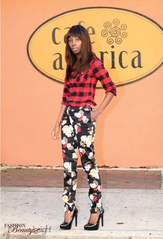 plaid with floral print