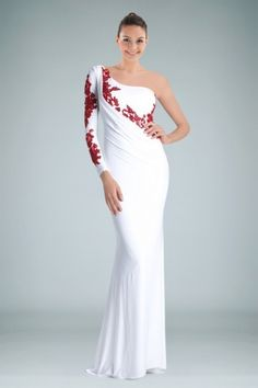 Ravishing One-shoulder Sheath Evening Gown Featuring Contrasting Applique