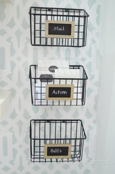 Love these DIY industrial mail baskets from A house full of sunshine! They're made from $5 cleaning caddies!