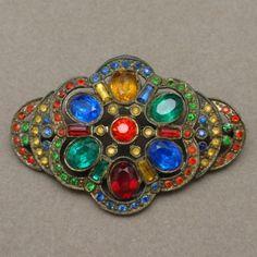 Multi Colored Czech Glass Brooch Pin Vintage   eBay
