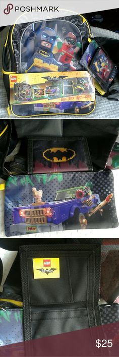 Kids 5-Piece Lego Batman Backpack and Lunchbox Set Lego Batman and Robin Graphic, also features the Joker   What's Included:  - Backpack  - Lunch tote  - Wallet  - Carrier Tote  - Cinch Sack   This is from the Lego Batman Movie Set   Brand New With Tags, Never Used   Excellent Condition   Offers Welcome :) Lego Batman Other