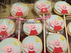 Peppa pig birthday cookies. Visit us Facebook.com/marissascake or www.marissascake.com