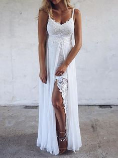 Sexy V Neck Lace Slit Irregular Pure Colour Maxi Dresses Product Sexy V Neck Lace Slit Irregular Pure Colour Maxi Dresses Brand Name Oflike SKU Gender Women Style Sexy/Elegant/Modern Type Maxi Dresses Material Polyester Fiber Decoration Pure C Grace Loves Lace, Style Fête, Traje Casual, Dresses Short, Maxi Dresses, Spring Dresses, Dresses Elegant, Party Mode, Spaghetti Strap Dresses