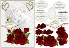 Roses are red on Craftsuprint designed by Julie Green - This is a lovely card front, very versatile as it is suitable for wedding day, Anniversary and ruby wedding anniversary. Use as is or build up the layers for a nice 3d effect - Now available for download!