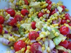 Corn avocado and tomato salad with lime dressing - one of my faves (Amy D)