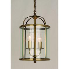 Orly 2 Light Round Lantern Pendant In Antique Brass - 7014-0466 - Lighting