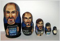 Steve Jobs Legacy Retold on Russian Nesting Dolls Steve Jobs, Retelling, Root Beer, Geek Stuff, Etsy, Dolls, Collection, Ephemera, Apple