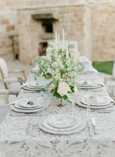 European Inspired Wedding | at Sunstone Villa | Learn more at stylemepretty.com - Wendy Schultz - Silver Service + Table Settings.