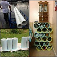schuhregal selber bauen diy idee plastikröhren schneiden