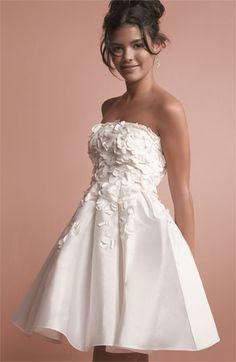 cute reception dress-Calvin Klein Petal Appliqué Strapless Taffeta Dress