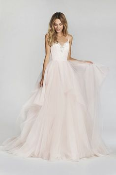 Cherry Blossom lace and tulle bridal ball gown, spaghetti strap sweetheart lace bodice, full tiered tulle skirt. Also available in Ivory.