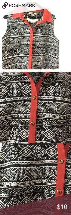 Aztec print tank FLASH SALE Black and white button up sleeveless blouse (tank) with gold buttons and coral collar and trim.  Polyester NEW, no tags. Size large, fits fitted.  Necklace not included.  Posted separately. Pinky Tops Blouses