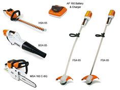 STIHL Commercial Lithium-Ion Series - Weedeater, Hedge Trimmer, and Chainsaw, please. Battery and Charger sold seperately.