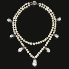 A stunning natural pearl and diamond necklace from the collection of Joséphine de Beauharnais, Queen of Sweden and Norway