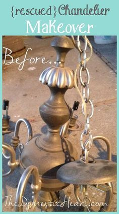 Rescued Chandelier Makeover - maybe a simple spray paint job and nicer lampshades is all it takes?