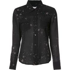 A.L.C. stars print sheer shirt ($560) ❤ liked on Polyvore featuring tops, black, sheer silk top, shirt top, star print top, see through tops and sheer shirt