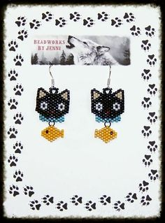 Native American Beaded Chococat w/ fishy Earrings $15.00 plus shipping Seed Bead Patterns, Beaded Jewelry Patterns, Peyote Patterns, Beading Patterns, Seed Bead Jewelry, Seed Bead Earrings, Native Beadwork, Beaded Animals, Beading Projects