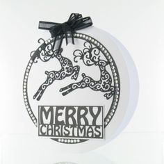 Tattered Lace Die Leaping Reindeer Christmas Hamper, Christmas Cards, Merry Christmas, Tattered Lace Cards, Craft Projects, Craft Ideas, Sabbats, Die Cut Cards, Hobbies And Crafts