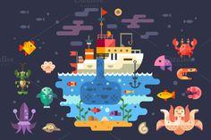 Ocean underwater life, sea animals. by TastyVector on Creative Market