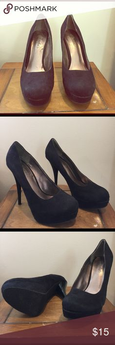 Candies Heels Adorable black heels in soft felt material. The heels are a size 6.5. They have a platform with approximately a 5 inch heel. These shoes have been worn a few times but in great condition. Candie's Shoes Platforms
