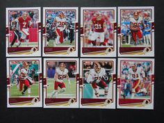 2020 Donruss Washington Redskins Veterans Base Team Set of 8 Football Cards #WashingtonRedskins