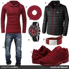 Sportliches Outfit in Dunkelrot mit Adidas ZX Flux, Festina Chrono, Rundschal, Jack & Jones Jeans, passender Jacke, Gürtel und Pullover. Jetzt ansehen!