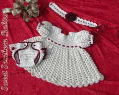Babys Girls Crochet Christmas Dress by SweetSouthernBabies on Etsy