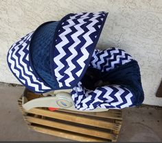 Navy Chevron Infant Car Seat Cover....