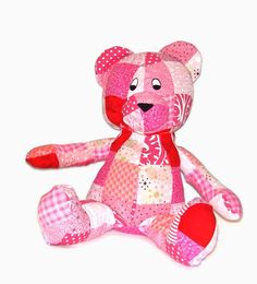 Patchwork Bear Stuffed Animal  Pink and Red  by malibuquilts, $43.00