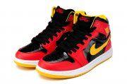 Air Jordan 1 Black Red Yellow White Shoes