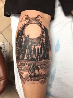 In The Woods Trees Line Work Tattoo