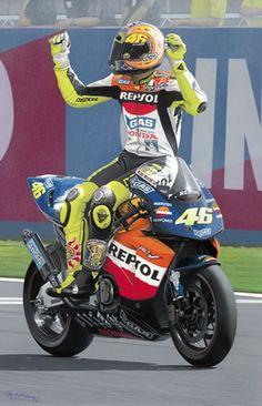 2002 : Honda : Team Repsol Honda :Valentino Rossi- World Champion Motorcycle Suit, Motorcycle Posters, Racing Motorcycles, Hummer, Course Moto, Valentino Rossi 46, Ride The Lightning, Motosport, 1957 Chevrolet