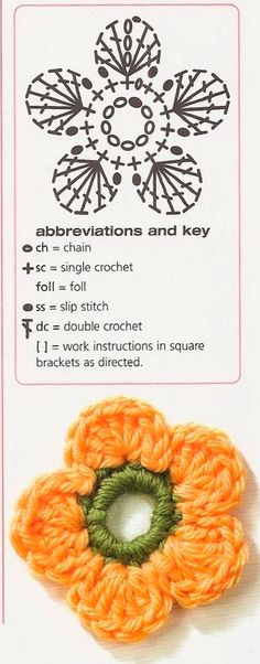 Flower crochet applique diagram