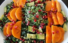 Persimmon, Black Kale and Pomegranate Salad With Creamy Almond Dressing