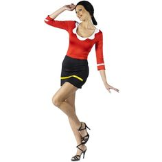 Sexy Olive Oyl Adult Costume ($42) ❤ liked on Polyvore featuring costumes, halloween costumes, sexy adult halloween costumes, 1920s flapper costume, 1920s costumes, adult halloween costumes and sexy comic book